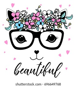 beautiful cat and flower crown illustration vector.