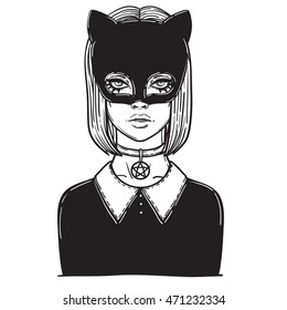 Beautiful Cat Woman With The Carnival Mask Gothic Girl In A Of Black