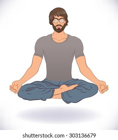 Beautiful Caucasian Man levitating sitting in Lotus pose isolated on background. Vector illustration. Spa consent, yoga studio, or natural medicine clinic.
