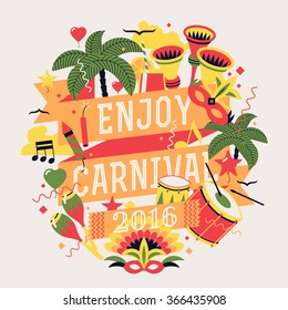 Beautiful celebration party carnival or masquerade design element with palms, horns, masks, drums, music notes and more. Place for text. Ideal for seasonal event poster, web banner or invitation