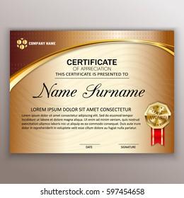 Beautiful certificate template design with best award symbol. Vector illustration