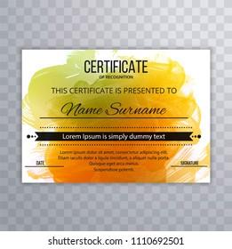 Beautiful certificate template watercolor design