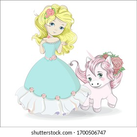 beautiful, charming little princess,  in blur dress and unicorn. Picture in hand drawing cartoon style, for t-shirt wear fashion print design, greeting card, postcard. baby shower. party invitation.