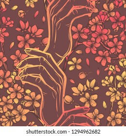 Beautiful Cherry ,Vector illustration, Sakura branch in hand, buds, flowers, handmade, card for you. seamless pattern. background dark