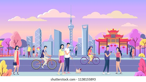 Beautiful China city color vector illustration. People walking on the street.