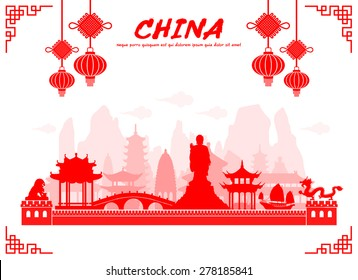 Beautiful China Travel Landmarks. Vector and Illustration.