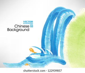 Beautiful Chinese Ink Painting Vector Design