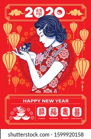 Beautiful Chinese Lady holds blue rat is symbol of Chinese year of the rat on calendar two thousand and twenty year background. Vector.