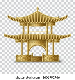 Beautiful Chinese pagoda in golden colors. Traditional building. Creative template for greeting cards, banners, invitations. Vector illustration