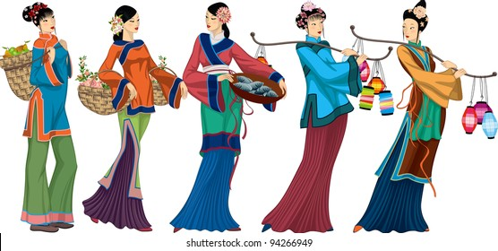 Beautiful Chinese sellers with goods over white background. each woman is grouped