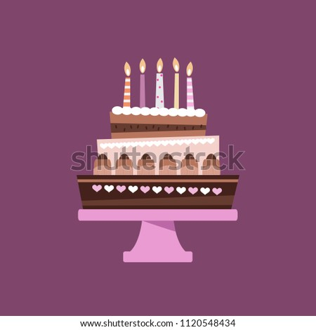 Beautiful Chocolate Birthday Cake Cartoon Style Stock Vector