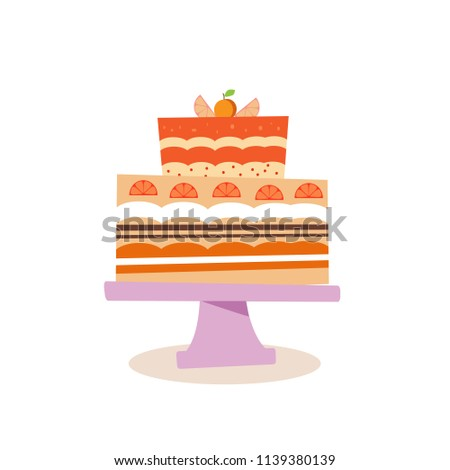 Beautiful Chocolate Birthday Cake Cartoon Style Stock Vector