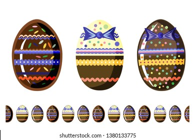beautiful  chokolate eggs with seamless brush isolated on white background. Flat vector