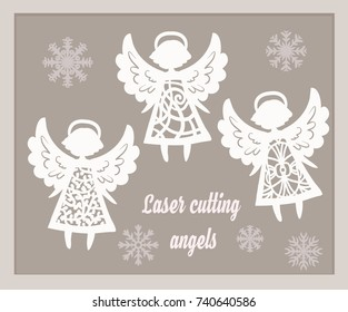 Beautiful Christmas angels. Paper or laser cutting template design.