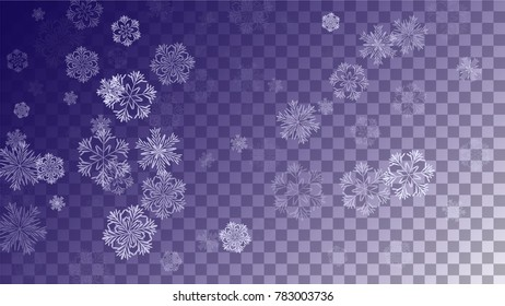 Beautiful Christmas Background with Falling Snowflakes.  Element of Design with Snow for a Postcard, Invitation Card, Banner, Flyer.  Vector Falling Snowflakes on a Blue Winter Background