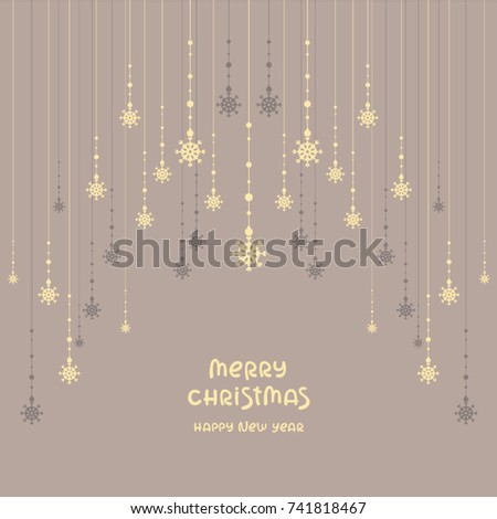 Beautiful Christmas Background Snowflakes Garland Template Stock