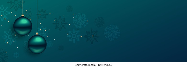 beautiful christmas balls banner with text space