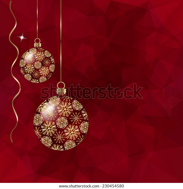 Beautiful Christmas balls and ribbons on abstract triangles vector background in red tones.