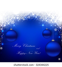 Beautiful Christmas blue background with balls.Vector  illustration