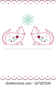 Beautiful Christmas Card with elegant Cats motive and patterns