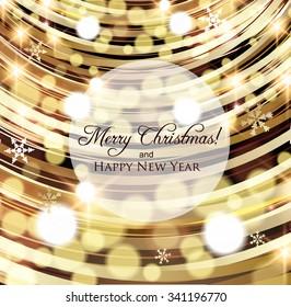 Beautiful Christmas card, Golden bokeh lights and snowflakes