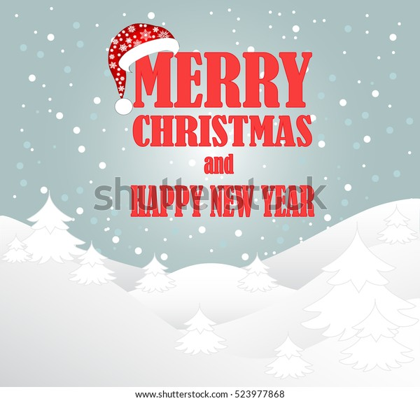 Christmas Card Greeting Idea.Beautiful Christmas Card Santa Hat Idea Stock Vector