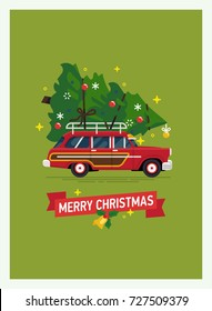 Beautiful Christmas greeting card, banner or poster vector template with retro red wagon car loaded with large Christmas tree tied to the roof rack