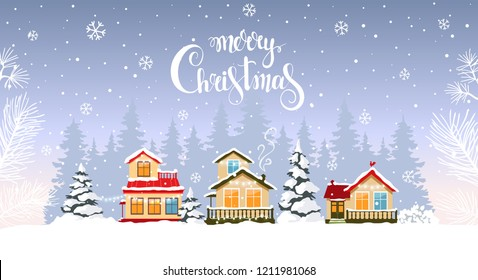 Beautiful christmas houses decorated with garlands in forest. Amazing winter holiday wallpaper for your design. Vector illustration