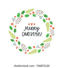 Beautiful Christmas plant laurel. Vector hand drawn illustration. Greeting card template