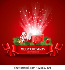 Beautiful Christmas poster with open and glowing magic gift box. Vector illustration.