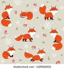 Beautiful christmas seamless pattern with gorgeous cartoon foxs. Amazing winter holiday wallpaper for your design. Vector illustration