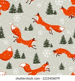 Beautiful christmas seamless pattern with gorgeous foxes. Amazing winter holiday wallpaper for your design. Vector illustration