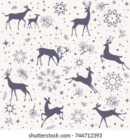 Beautiful christmas seamless pattern with gorgeous deers and snowflake. Amazing winter holiday wallpaper for your design. Vector illustration