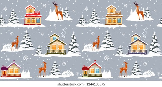 Beautiful christmas seamless pattern with beautiful houses and deer. Amazing winter holiday wallpaper for your design. Vector illustration