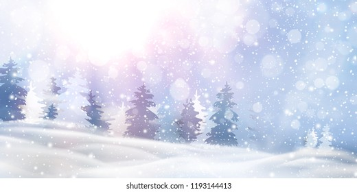 Beautiful christmas, snowy woodland landscape with snow covered firs, coniferous forest, falling snow, snowflakes for winter and new year holidays. Christmas Winter background glitter. vector.