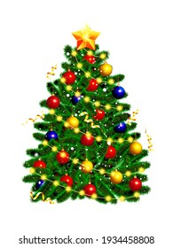 Beautiful Christmas tree with a gold star and lights on a white background. Vector illustration