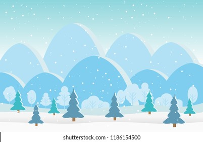 Beautiful Christmas winter flat landscape background. Christmas forest woods with mountains. New Year vector greeting card and illustrator.
