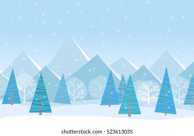 Beautiful Christmas winter flat landscape background. Christmas forest woods with mountains. New Year winter vector landscape