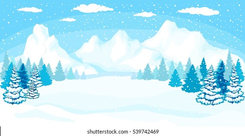 Beautiful Christmas winter flat landscape background. Christmas forest woods with mountains. New Year vector greeting card