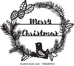 Beautiful Christmas wreath with bird. Paper or laser cutting template design.