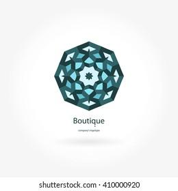 Beautiful circular retro logo for boutique, flower shop, business. Company mark, emblem, element. Simple geometric mandala logotype. Kaleidoscope big bud. Surround abstract blossom. Vintage.
