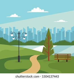 Beautiful City park with modern design vector concept for banner,web landing page, wallpaper, background, book illustration. Trendy flat illustration