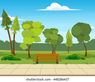 beautiful city park. vector illustration in flat style.