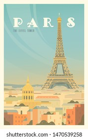 Beautiful city view in sunny day in Paris with historical buildings, The Eiffel tower, trees. Time to travel. Around the world. Quality vector poster. France.