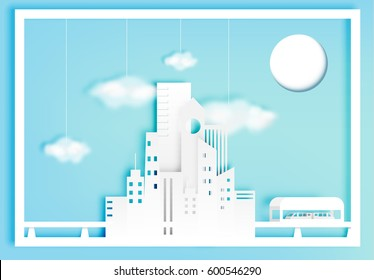 Beautiful cityscape paper art style with cotton cloud vector illustration