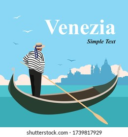 Beautiful cityscape in Venice with historical buildings, sea, gondola. Time to travel. Around the world. Quality vector poster. Italian men's profession.