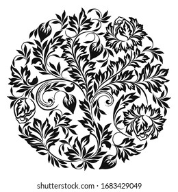 Beautiful classic black and white round pattern with leaves and flowers. Vector round print.