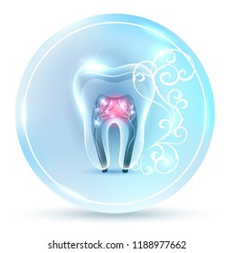 Beautiful clean artistic tooth anatomy icon, with white abstract swirly flower on a delicate clean blue background