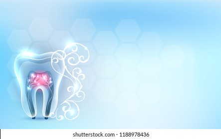 Beautiful clean artistic transparent tooth anatomy, with white abstract swirly flower on a delicate clean blue background