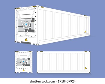 The beautiful clean vector of white color Reefer, Refrigerator or Cool container use for transport the perishable products in logistics business. front, side and perspective view on blue background.